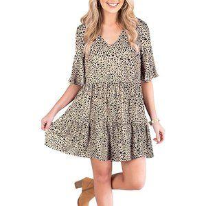 Leopard Print Bell Sleeve Shift Dress, Small